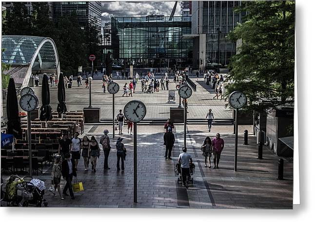 Time Works Greeting Cards - Canary Wharf Greeting Card by Martin Newman