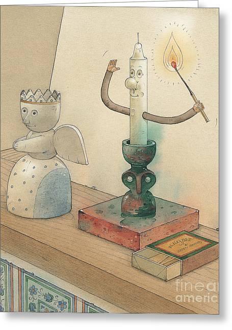 Romantic Drawings Greeting Cards - Candle Greeting Card by Kestutis Kasparavicius