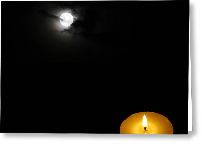 Candle Lit Paintings Greeting Cards - Candle Light vs Moon Light Greeting Card by Celestial Images