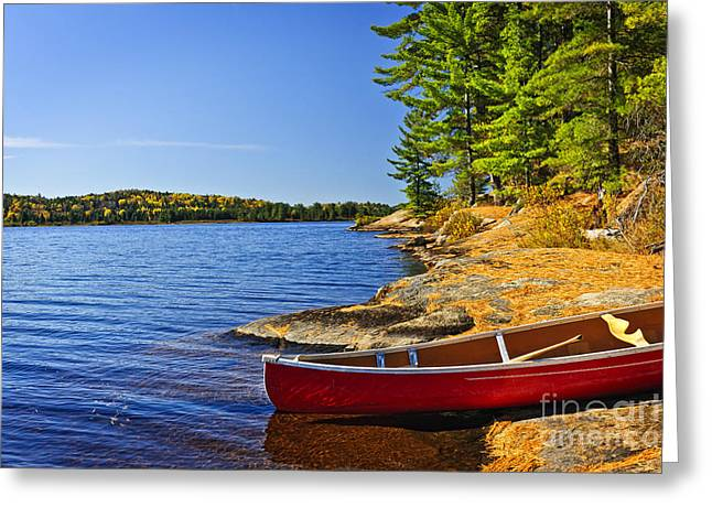 Algonquin Greeting Cards - Canoe on shore Greeting Card by Elena Elisseeva