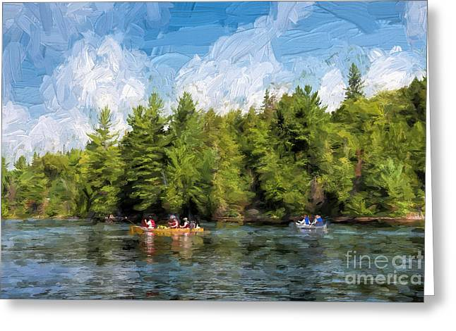 Canoe Greeting Cards - Canoe paddling in Algonquin Park Greeting Card by Les Palenik