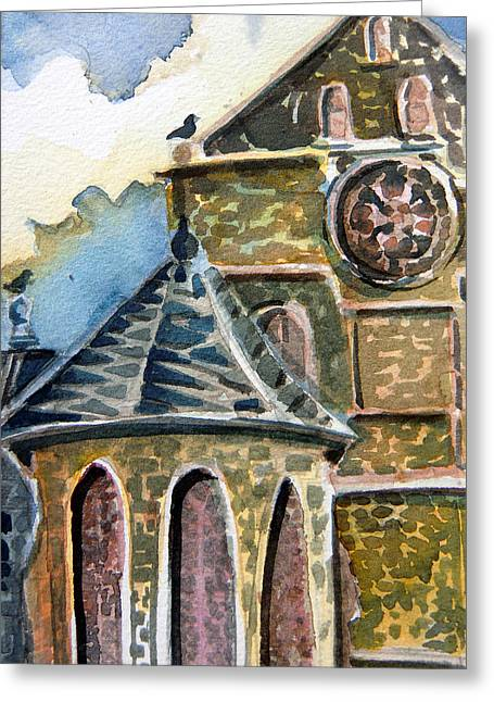 Brick Buildings Mixed Media Greeting Cards - Cantebury Cathedral Greeting Card by Mindy Newman