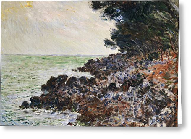 Rocky Cliff Greeting Cards - Cap Martin Greeting Card by Claude Monet