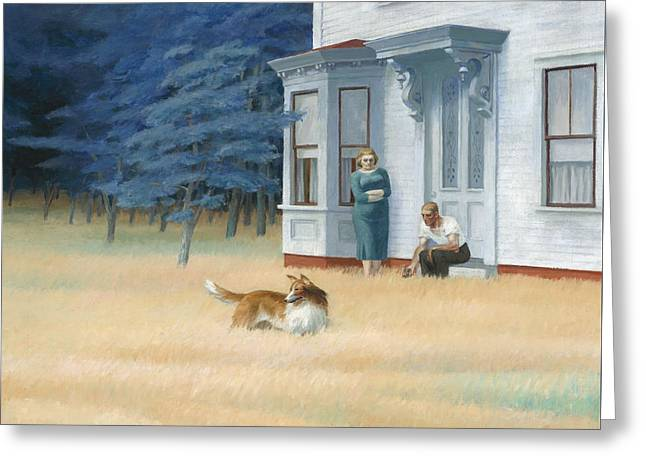 Collie Greeting Cards - Cape Cod Evening Greeting Card by Edward Hopper