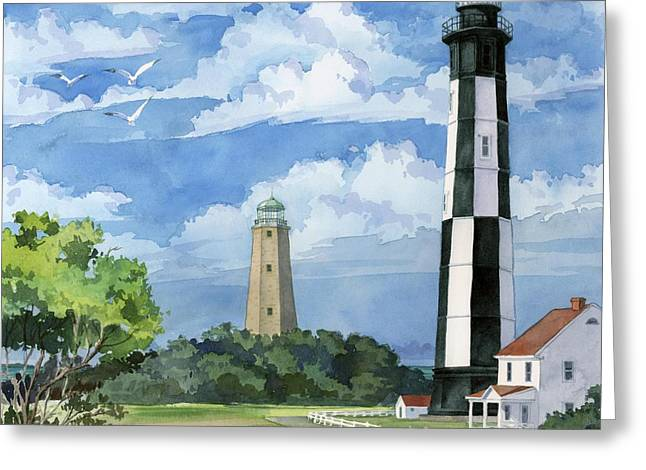 Black Light Paintings Greeting Cards - Cape Henry - Lighthouse Greeting Card by Paul Brent