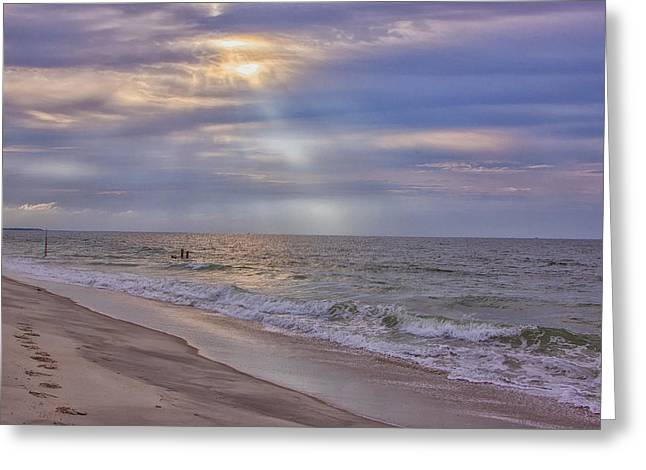May Morning Greeting Cards - Cape May Beach Greeting Card by Tom Singleton