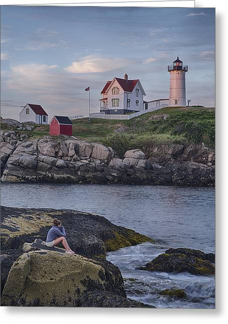 Cape Neddick Lighthouse Greeting Cards - Cape Neddick Lighthouse Greeting Card by David DesRochers