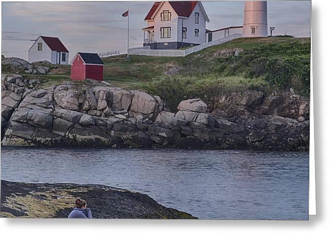 Cape Neddick Lighthouse Greeting Card by David DesRochers