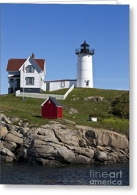 Cape Neddick Greeting Cards - Cape Neddick Lighthouse Nubble Light York Beach Maine Greeting Card by Jason O Watson