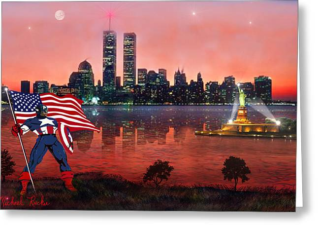 Libertas Greeting Cards - Captain America Greeting Card by Michael Rucker