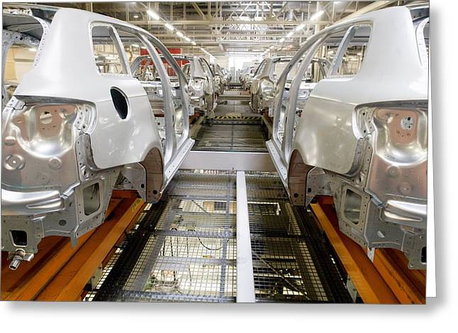 Bodywork Greeting Cards - Car Factory Production Line Greeting Card by Arno Massee