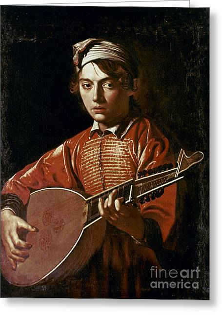 1596 Greeting Cards - Caravaggio: Luteplayer Greeting Card by Granger