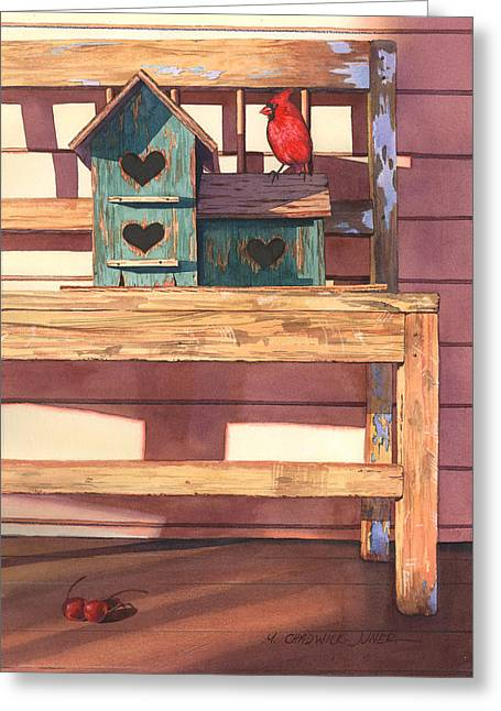 Birdhouse Greeting Cards - 1 Cardinal 2 Cherries Greeting Card by Marguerite Chadwick-Juner