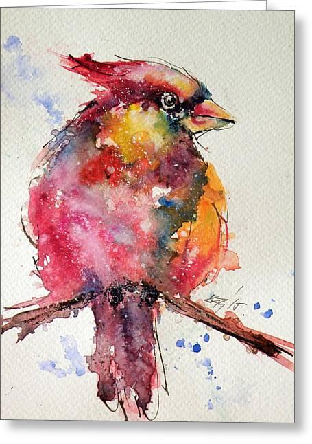 Cardinal Bird Greeting Card by Kovacs Anna Brigitta