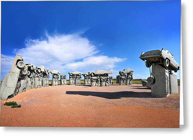 Installation Art Greeting Cards - Carhenge Greeting Card by Edwin Verin