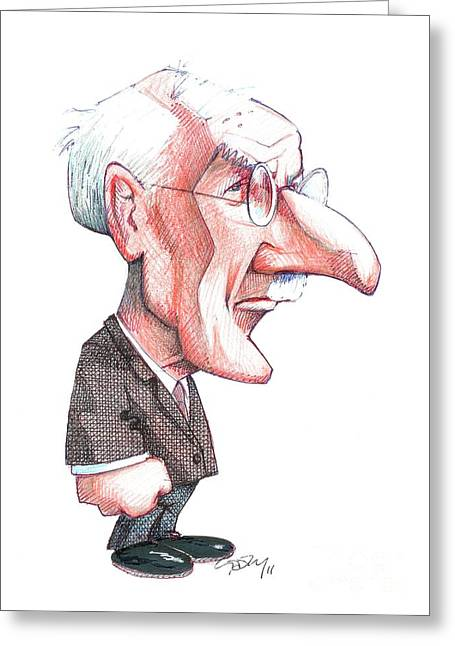 Carl Gustav Jung Greeting Cards - Carl Jung, Caricature Greeting Card by Gary Brown