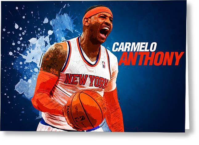 Kobe Bryant Wall Art Greeting Cards - Carmelo Anthony Greeting Card by Semih Yurdabak