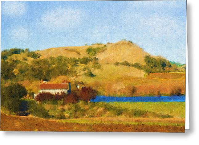 Napa Valley Digital Greeting Cards - Carneros Valley Greeting Card by Mick Burkey