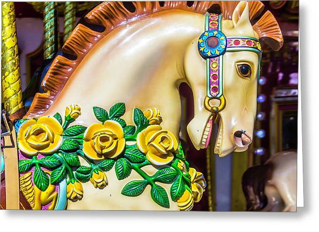 Carrousel Horse Portrait Greeting Card by Garry Gay