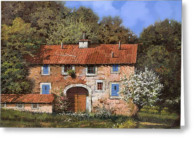 Farm Landscape Greeting Cards - Casolare A Primavera Greeting Card by Guido Borelli
