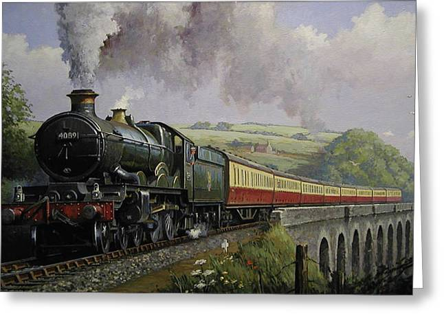 Railway Locomotive Greeting Cards - Castle on Broadsands viaduct Greeting Card by Mike  Jeffries