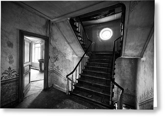 Stair Case Greeting Cards - Castle stairs - abandoned building Greeting Card by Dirk Ercken