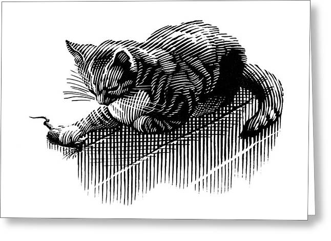 Linocut Greeting Cards - Cat And Mouse, Artwork Greeting Card by Bill Sanderson