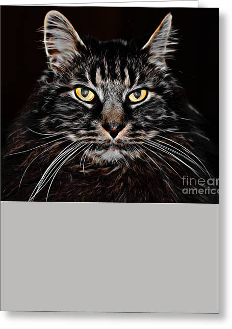 Printmaking Greeting Cards - Cat Greeting Card by Laura L Leatherwood