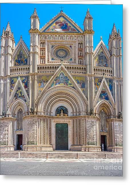 Historic Architecture Greeting Cards - Cathedral of Orvieto, Duomo di Orvieto, Umbria, Italy Greeting Card by JR Photography