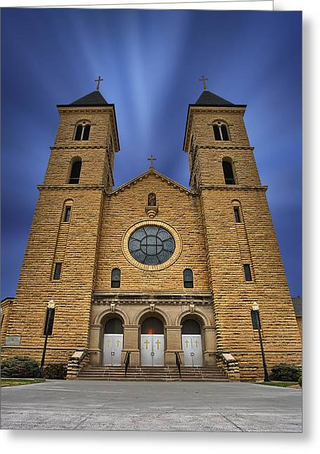 Jesus On Cross Greeting Cards - Cathedral on the Plains Greeting Card by Thomas Zimmerman