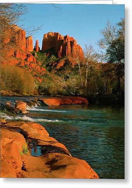 Best Sellers -  - Red Rock Crossing Greeting Cards - Cathedral Rock At Redrock Crossing Greeting Card by Crystal Garner