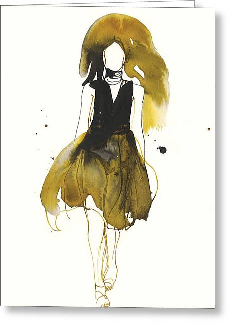 White Drawings Greeting Cards - Catwalk Greeting Card by Toril Baekmark