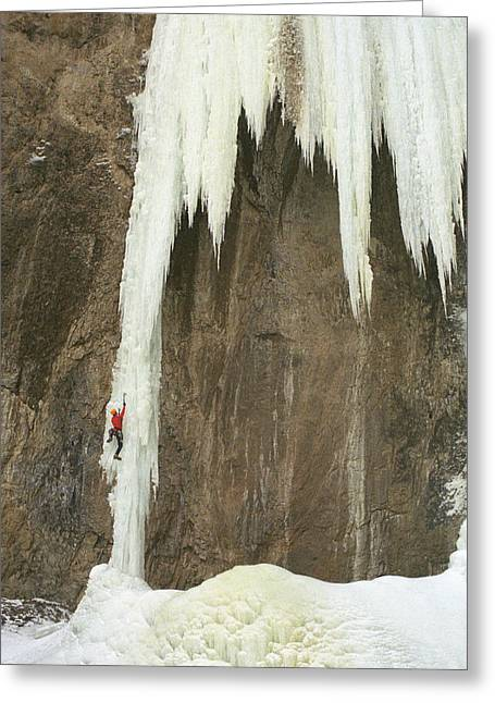 Action Sports Portrait Greeting Cards - Caucasian Male Ice Climbing In Wyoming Greeting Card by Bobby Model