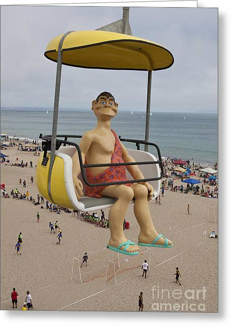 Santa Cruz Art Greeting Cards - Caveman above Beach Santa Cruz Boardwalk Greeting Card by Jason O Watson