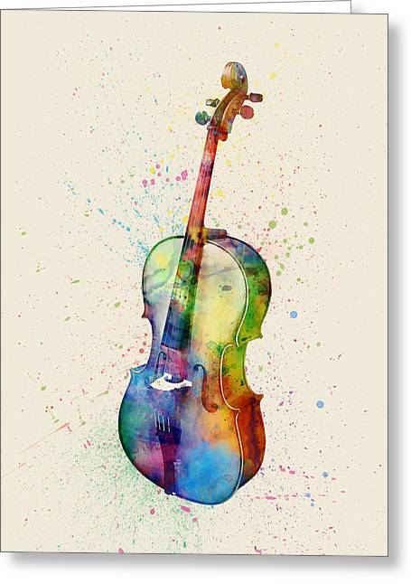 String Art Greeting Cards - Cello Abstract Watercolor Greeting Card by Michael Tompsett