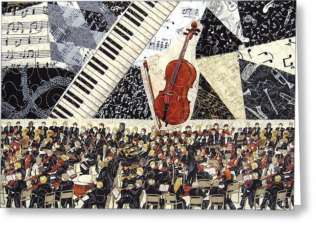 Collage Tapestries - Textiles Greeting Cards - Cello Concerto Greeting Card by Loretta Alvarado