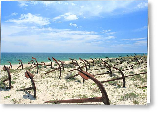 Tavira Greeting Cards - Cemetery Of Anchors Greeting Card by Carl Whitfield