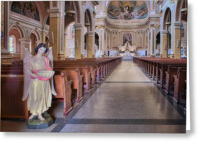 Renaissance Center Greeting Cards - Center Aisle - Saint Mary of the Angels - Chicago Greeting Card by Nikolyn McDonald