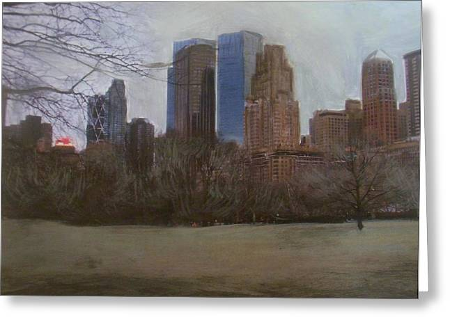 Central Mixed Media Greeting Cards - Central Park  Greeting Card by Anita Burgermeister