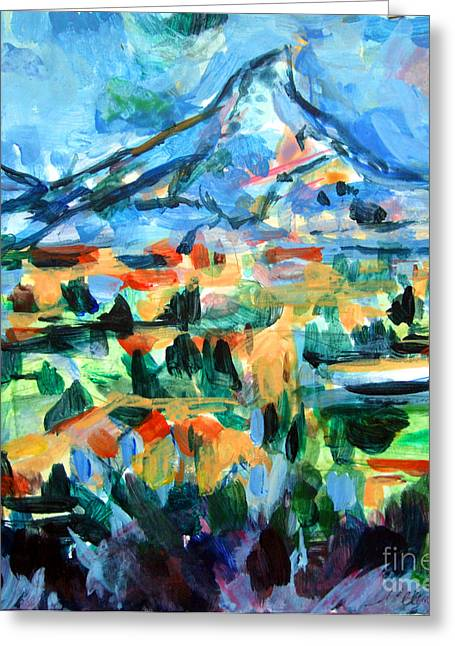 Town Pastels Greeting Cards - Cezanne Mountain Greeting Card by Mindy Newman