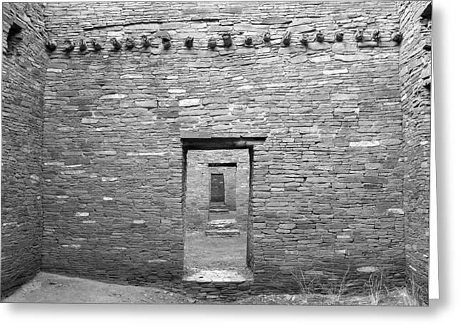 Pueblo People Greeting Cards - Chaco Canyon Doorways 5 Greeting Card by Carl Amoth