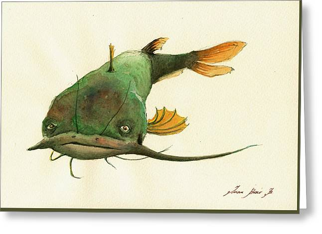 Fishing Art Print Greeting Cards - Channel Catfish fish animal watercolor painting Greeting Card by Juan  Bosco