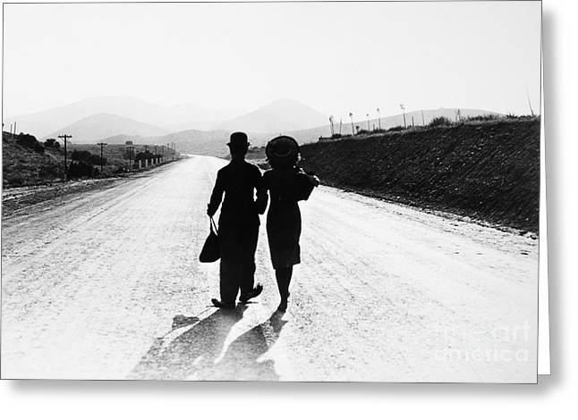 Dirt Road Greeting Cards - Chaplin: Modern Times, 1936 Greeting Card by Granger