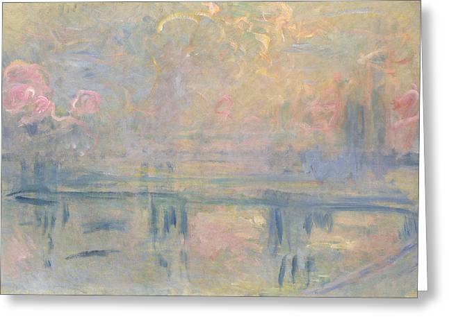 Fog Mist Greeting Cards - Charing Cross Bridge Greeting Card by Claude Monet