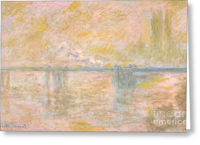 Vintage Painter Greeting Cards - Charing Cross Bridge in London Greeting Card by Claude Monet