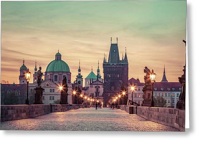 Charles Bridge At Sunrise, Prague, Czech Republic. Dramatic Statues And Medieval Towers. Greeting Card by Michal Bednarek