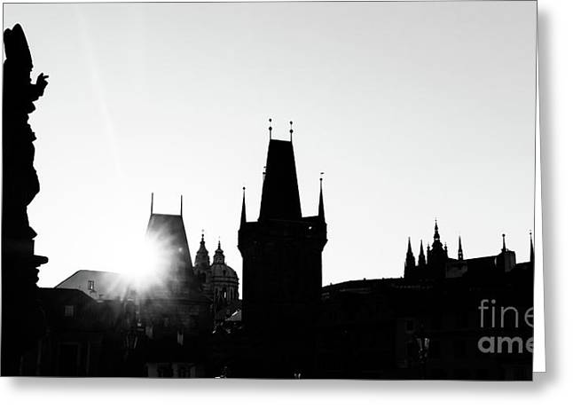 Charles Bridge At Sunrise, Prague, Czech Republic. Statues And Towers Silhouettes Greeting Card by Michal Bednarek