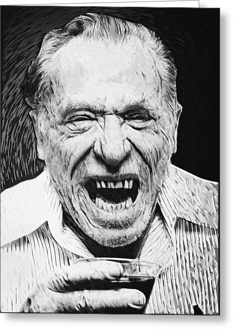 Skid Row Greeting Cards - Charles Bukowski Greeting Card by Taylan Soyturk