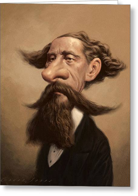 Charles Dickens Greeting Cards - Charles Dickens Greeting Card by Court Jones