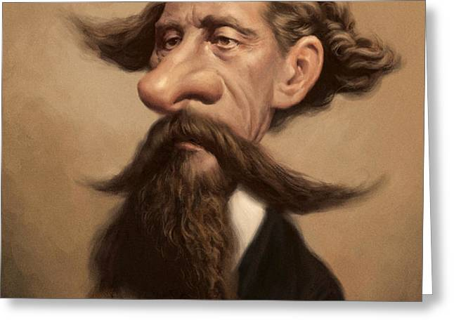 Charles Dickens Greeting Card by Court Jones